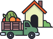An icon of truck deliverying a basket of vegetables to a house