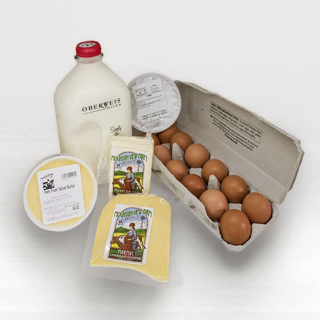 A collection of dairy products offered by Seasonal Roots