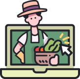 An icon of a farmer holding veggies out through a laptop screen